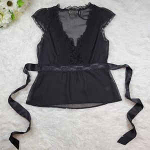 Guess Sz L Black Sheer Lace Top Blouse *Flawed*